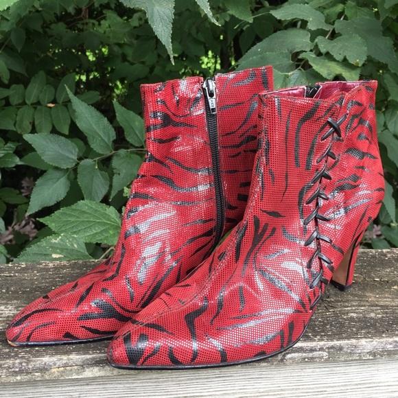 Stella Maris Ferraro Red Zebra Print Ankle Boots